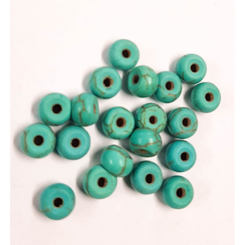 20 perle 6mm x 4mm Rondelle Naturel Pierre Turquoise