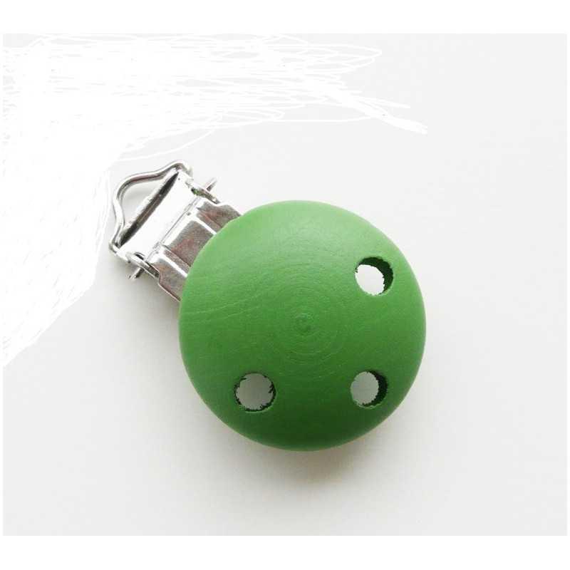 Clip Pince Attache Tetine en Bois Rond vert 3cm