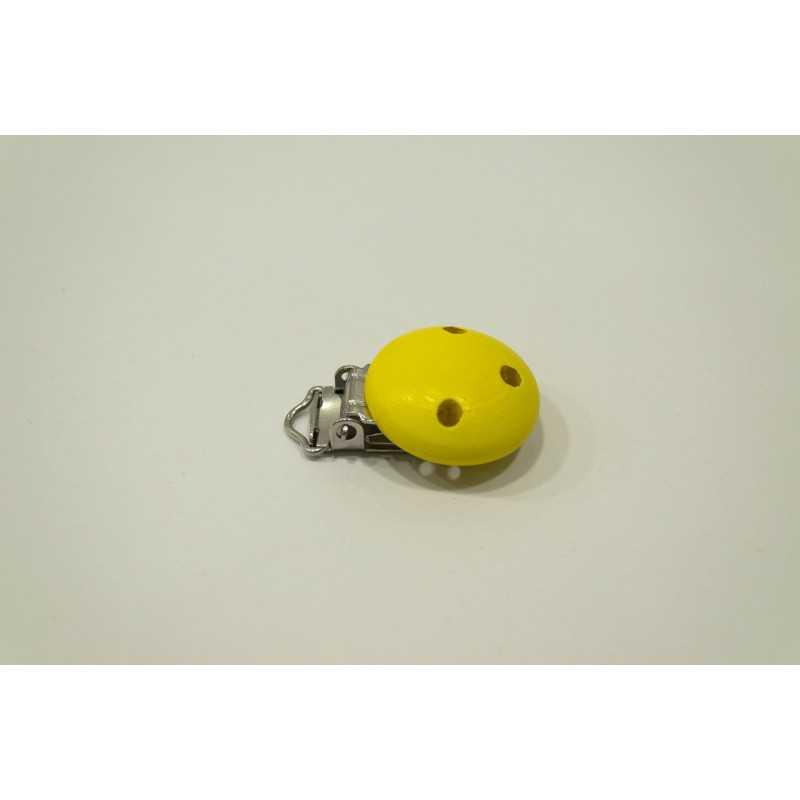 Clip Pince Attache Tetine Jaune en Bois 3cm
