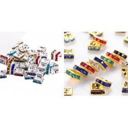 10 ou 20 Perles Rondelle Carré strass mixte 10mm Argenté ou doré MC0110001 - MC0110004