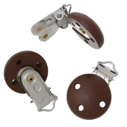 Clip Pince Attache Tetine en Bois marron 3cm