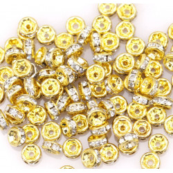 20 Perles 4mm Rondelle Strass Intercalaire Doré MC0104007