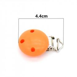 Clip Pince Attache Tetine Orange en Bois Rond  3cm