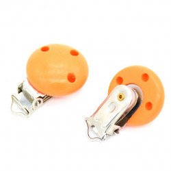 Clip Pince Attache Tetine Orange en Bois Rond  3cm
