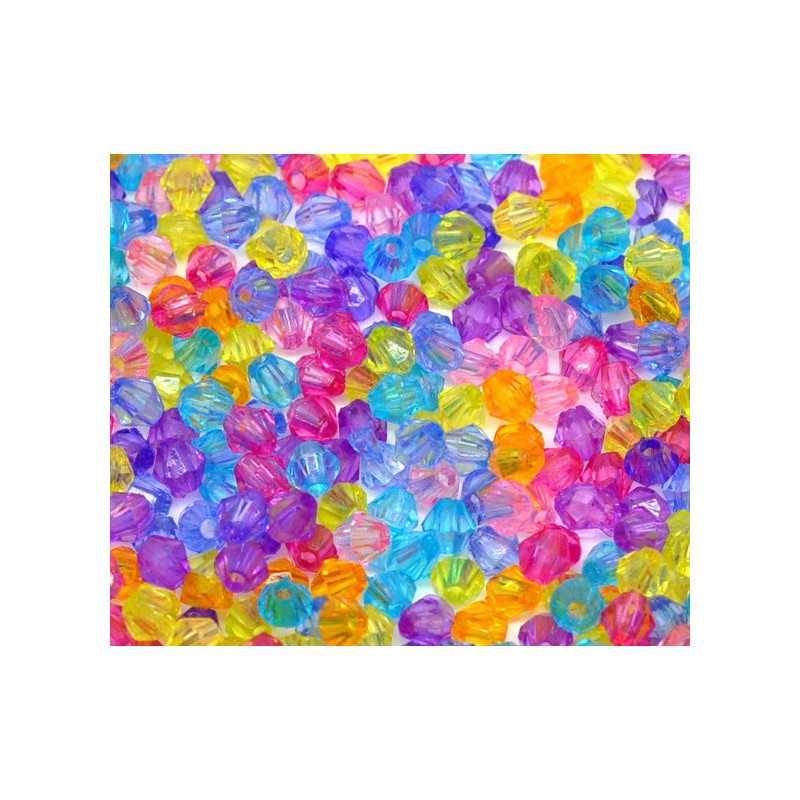 Lot 200 Mixte Perles Intercalaires Bicone toupie Acrylique 4 x 4mm