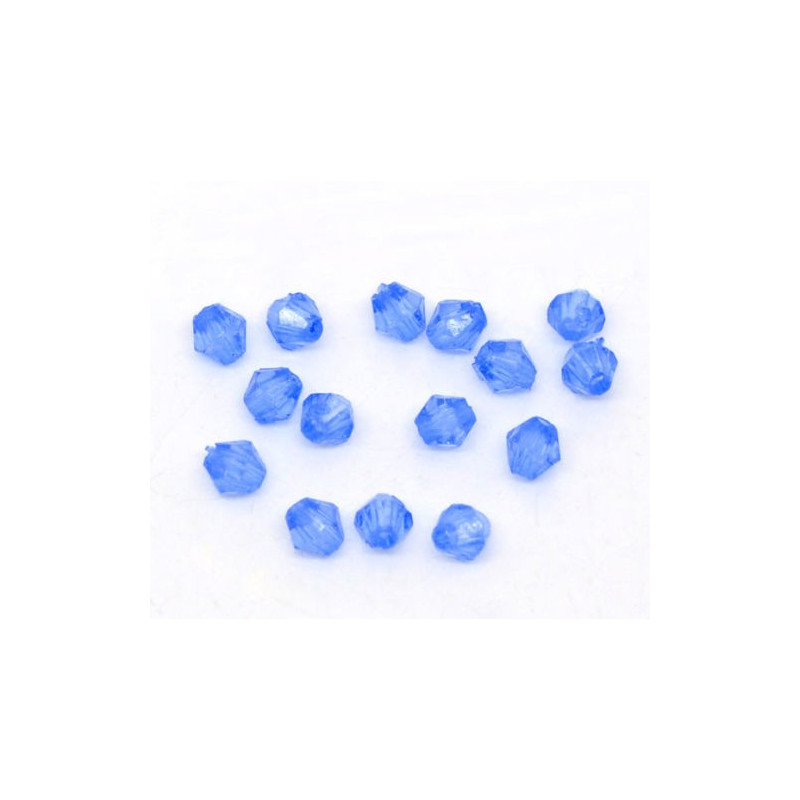 Lot 100 Bleu Perles Intercalaires Bicone toupie Acrylique 4 x 4mm