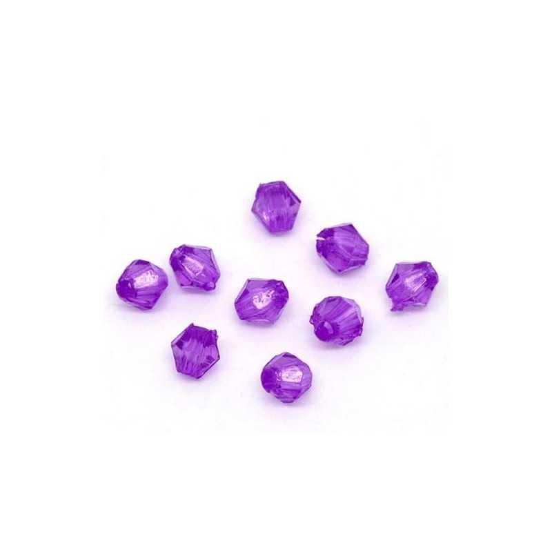 Lot 200 Violet Perles Intercalaires Bicone toupie Acrylique 4 x 4mm