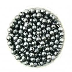 50 Perles 4mm Gris imitation Brillant MC0104035