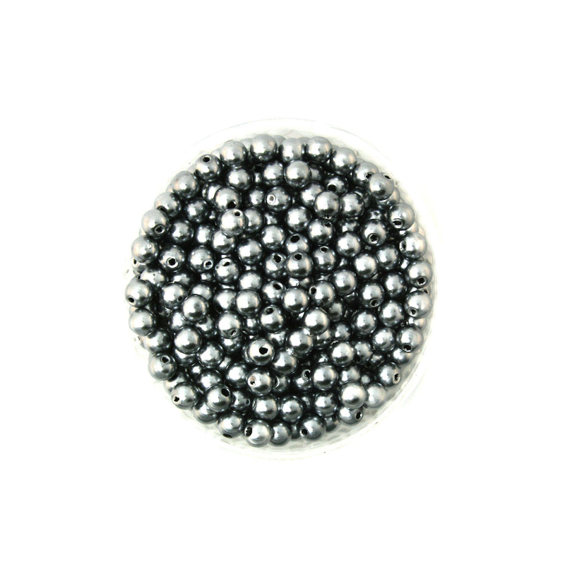 50 Perles 4mm Gris imitation Brillant