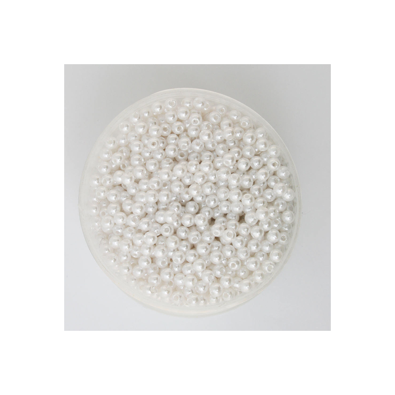 50 Perles 4mm Blanc imitation Brillant