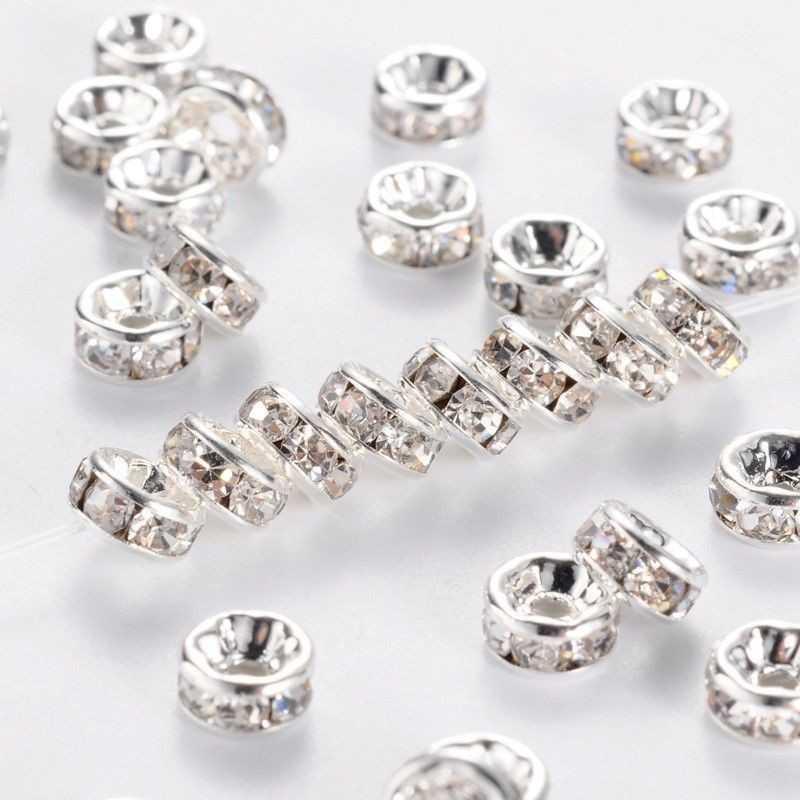 20 Perle Rondelle strass Argenté 8mm