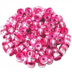 20 Perles Rondelles Aluminium 6mm x 4mm Couleur Fuchsia MC0106009
