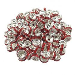 20 Perles Rondelle strass Argenté 8mm Couleur Rouge MC0108003