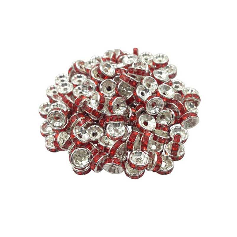 20 Perles Rondelle strass Argenté 8mm Couleur Rouge