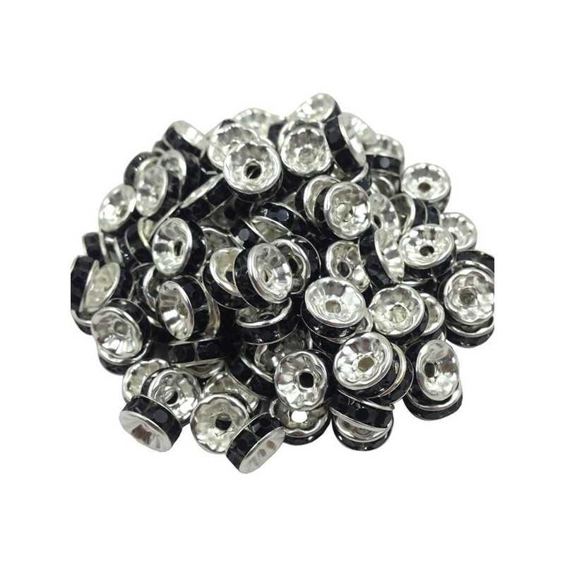 20 Perles Rondelle strass Argenté 8mm Couleur Noir