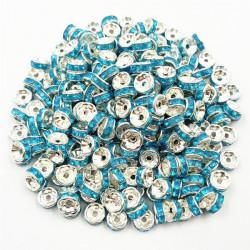 20 Perles Rondelle strass Argenté 8mm Couleur Turquoise MC0108005