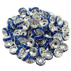 20 Perles Rondelle strass Argenté 8mm Couleur Bleu Marine MC0108006