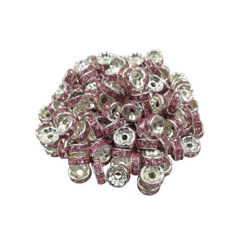 20 Perles Rondelle strass Argenté 8mm Couleur Parme