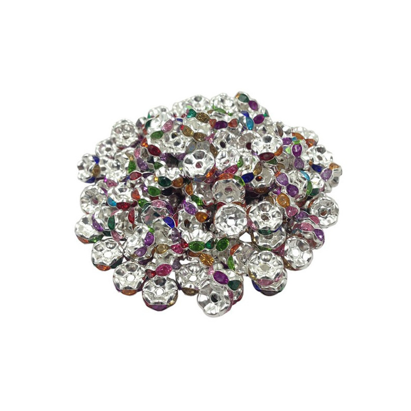 20 Perles Rondelle strass Argenté 8mm Couleur Mixte Multicolore