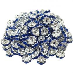 Lot 20 Perles Rondelle strass Argenté 8mm Couleur Bleu Marine MC0108013