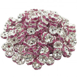 Lot 20 Perles Rondelle strass Argenté 8mm Couleur Rose MC0108015