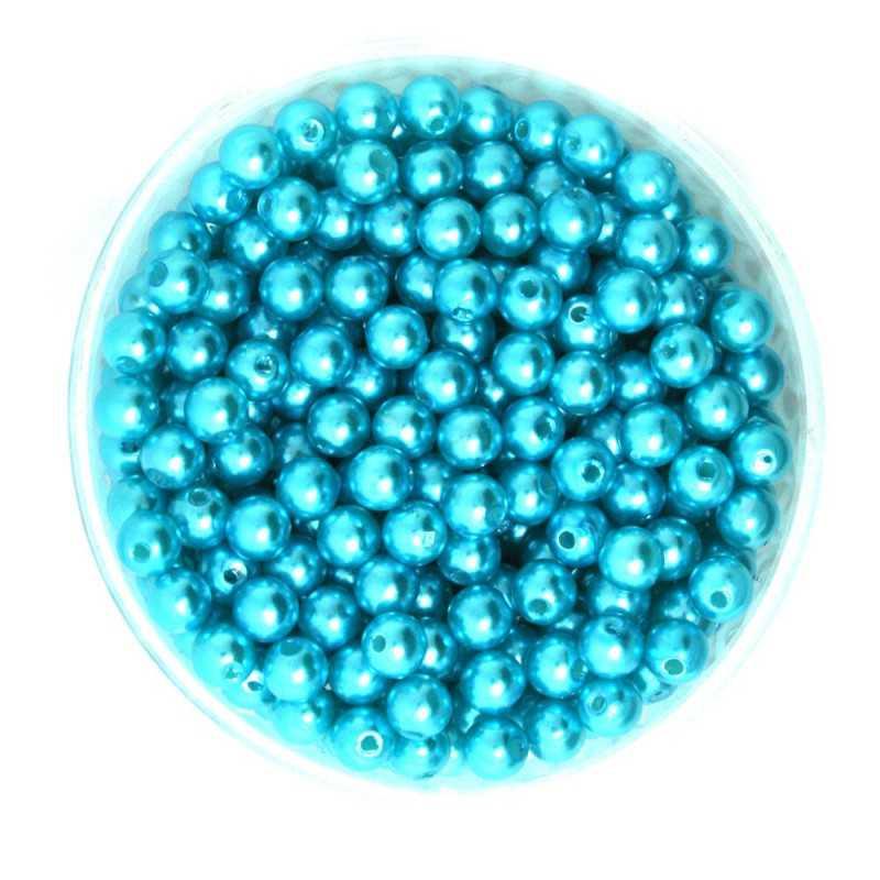 50 Perles 6mm Imitation Brillant Couleur Turquoise