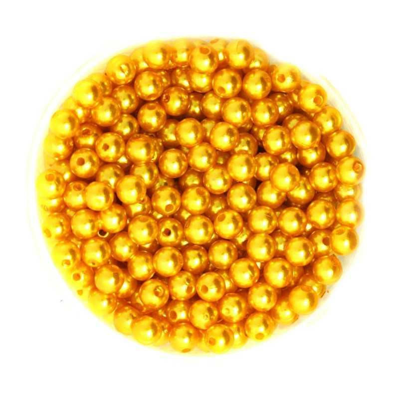 50 Perles 6mm Imitation Brillant Couleur Doré