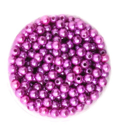 50 Perles 6mm Imitation Brillant Couleur Violet MC0106042