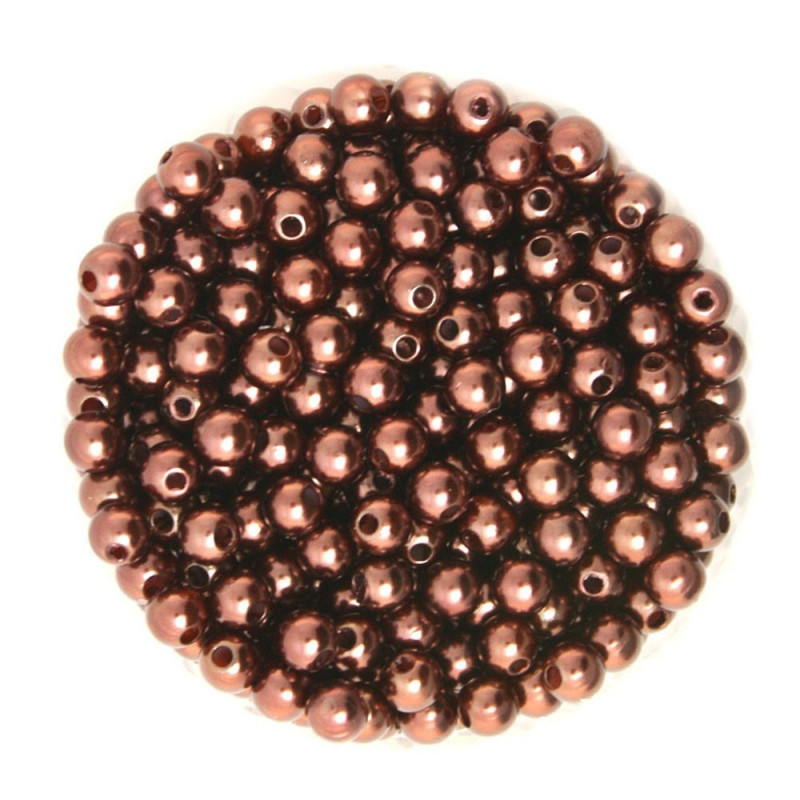 50 Perles 6mm Imitation Brillant Couleur Marron