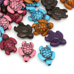Lot 10 Perle Tortue Acrylique 18mm x 15mm Tortues Souriante MC0400001