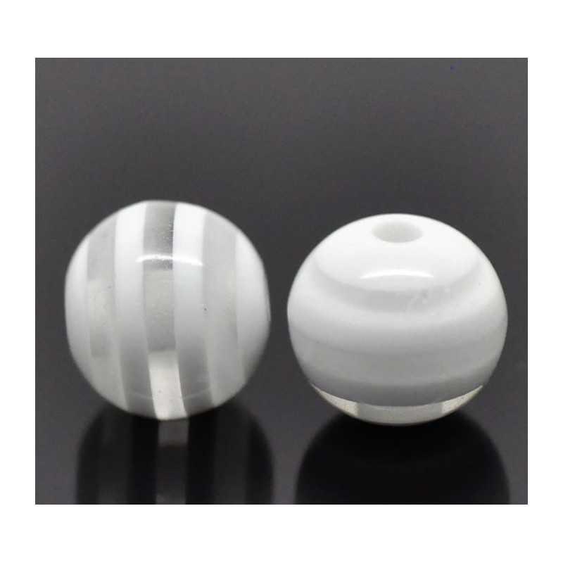 10 Perles 10mm Rayé Transparent et Blanc en resine
