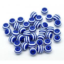 10 Perles 10mm Rayé Bleu Marine et Blanc en resine MC0110006