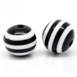 10 Perles 10mm Rayé Noir et Blanc en resine MC0110008