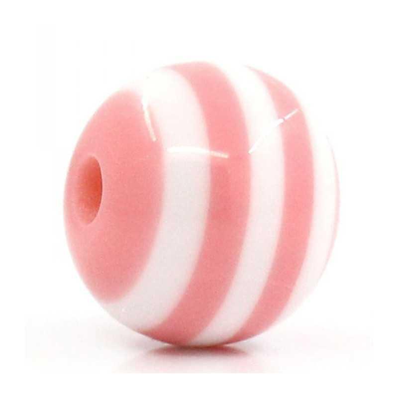 10 Perles 10mm Rayé Rose et Blanc en resine