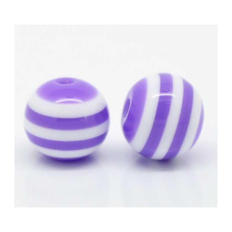 10 Perles 10mm Rayé Violet et Blanc en resine