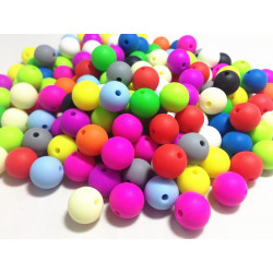 10 Perle 10mm Silicone Couleur Mixte MC0110012