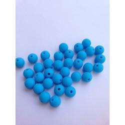 10 Perles 10mm Silicone Couleur Bleu MC0110014