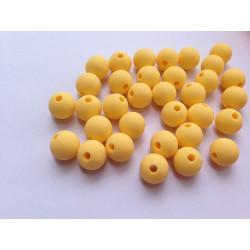 10 Perle 10mm Silicone Couleur Jaune MC0110018