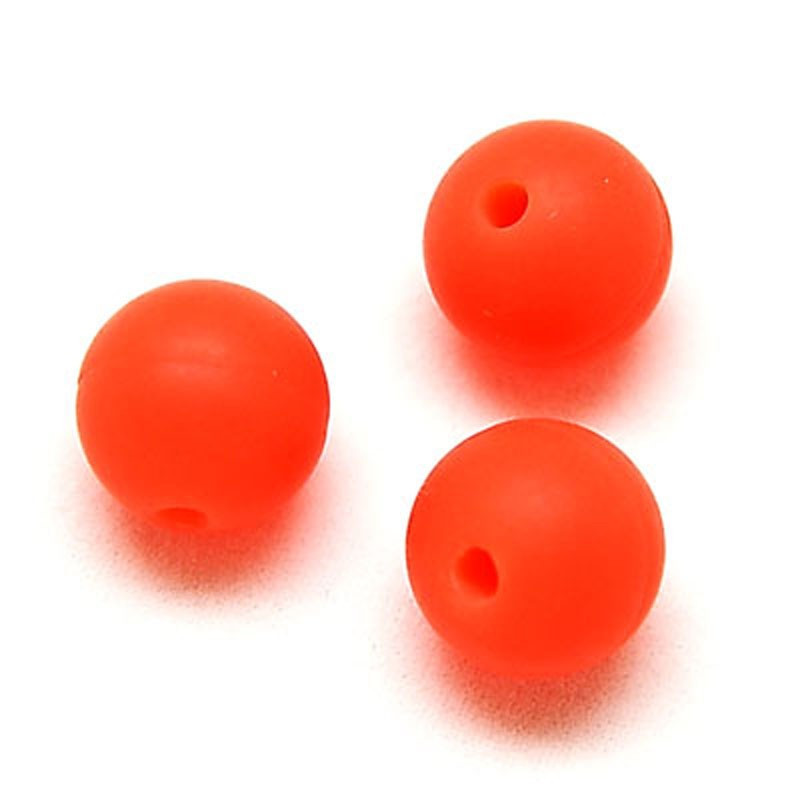 10 Perle 10mm Silicone Couleur Orange