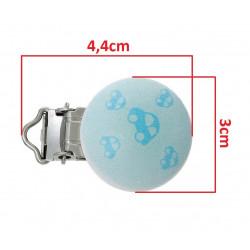 Clip Pince Attache Tetine en Bois Bleu Voiture 3cm MC2030521