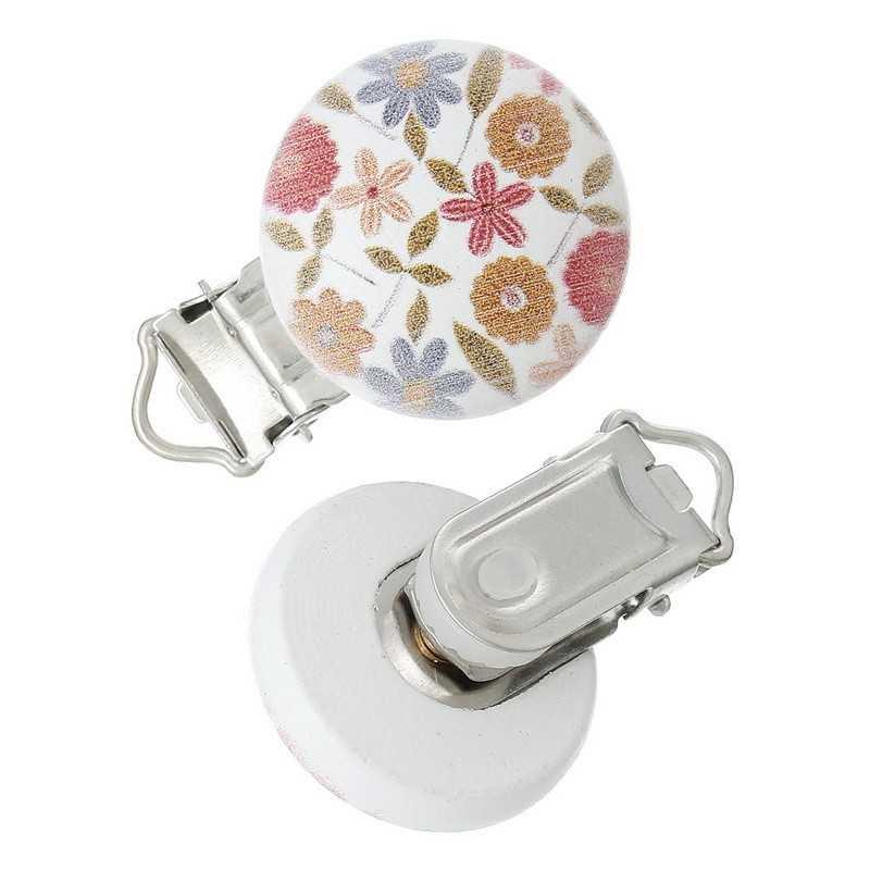 Clip Pince Attache Tetine en Bois Petit Fleur 3cm