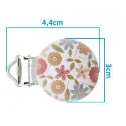 Clip Pince Attache Tetine en Bois Petit Fleur 3cm MC2030522