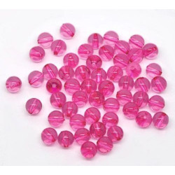 Lot de 20 Perles en Acrylique 8mm - Fuchsia Rouge Transparent Violet