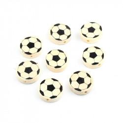 5 Perles Ronde en Bois 20mm Couleur Nature Ballon de Football MC0720001