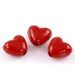 10 Perle Coeur Rouge 11mm Perle en Acrylique MC0400009