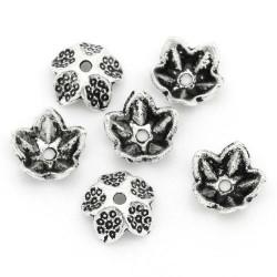 Lot de 20 Coupelles - Caps - Calottes Fleur Argenté 9mm x 4mm