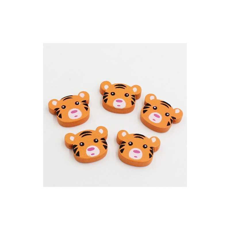 5 ou 10 Perle en Bois Tigre Orange 23mm x 18mm