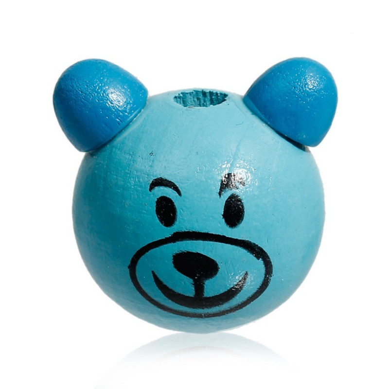 Perle 3D Ours Bleu 25mm Tete Ourson MC0700112