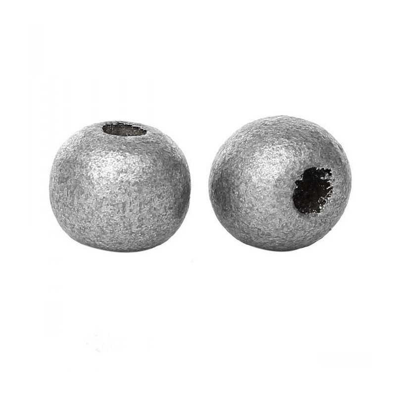 Lot de 20 perles en bois argenté 10mm