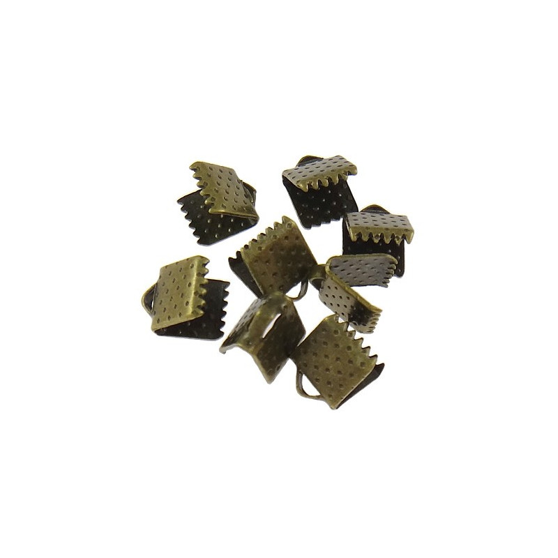 20 Embout Serre Ruban Bronze 8mm x 6mm